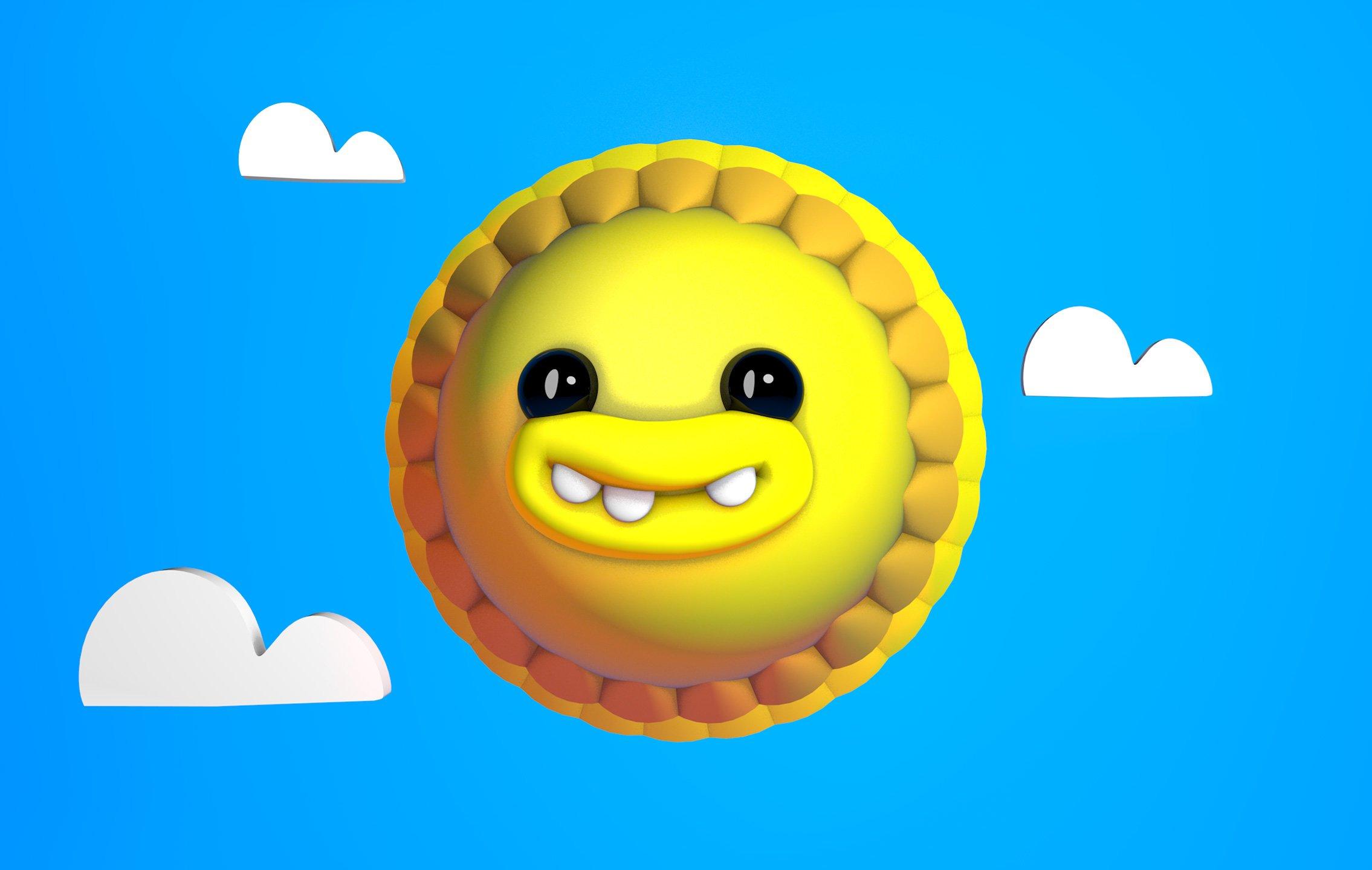 3d sun face